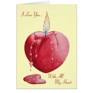 Art brûlant romantique en forme de coeur de bougie carte