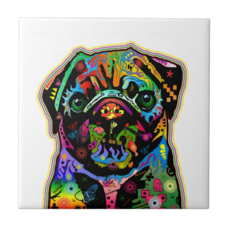 Art coloré de carlin d'animal familier d'art de br petit carreau carré