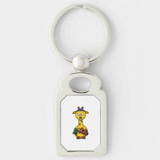 Art de bande dessinée de girafe de nageur porte-clés