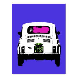 art de bruit de style Fiat 500 à Rome Carte Postale