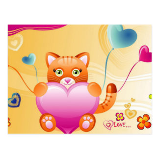 Art de chaton d'amour cartes postales