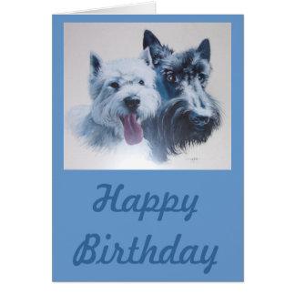 Art de chien :  Scottie et carte d'anniversaire de