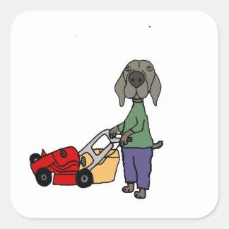 Art de fauchage de pelouse de chien drôle de sticker carré