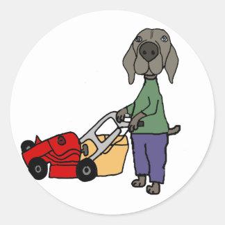 Art de fauchage de pelouse de chien drôle de sticker rond