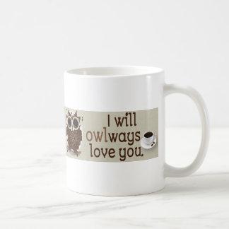 Art de hibou de grain de café mug blanc