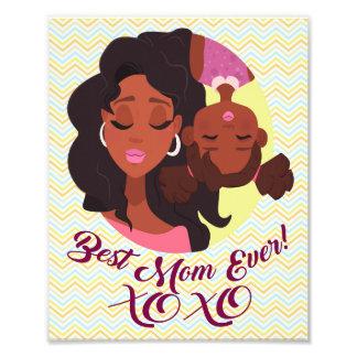 Art de maman afro-américaine et maman de fille de impression photo