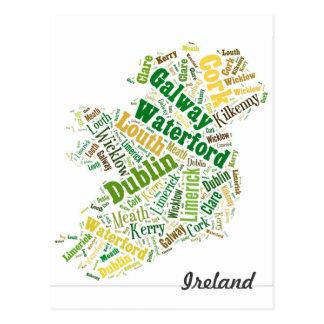 Art de mot de villes de l'Irlande Cartes Postales
