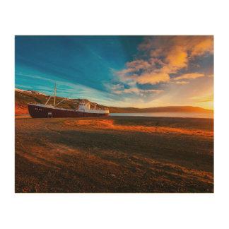 Art de mur de coucher du soleil de bateau de