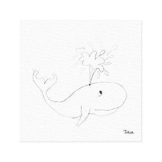 Art de mur de toile de dessin de baleine de crayon