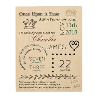 Art de prince Newborn Birth Stat Wood de livre