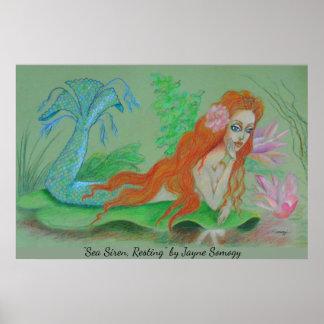 Art de sirène--Orig. Affiche de dessin