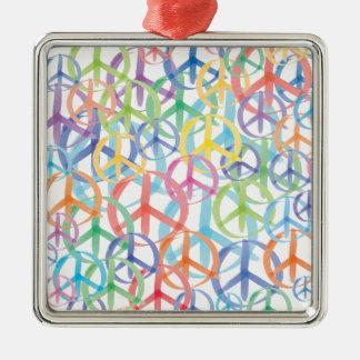 Art de symboles de paix ornement carré argenté
