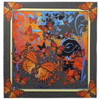Art de temps orageux de papillons de monarque serviettes de table