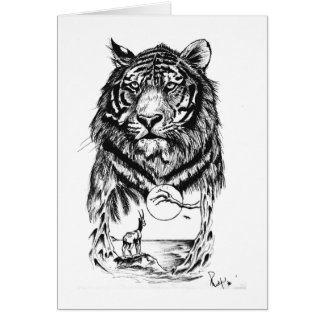 Art de tigre de tatouage carte de vœux