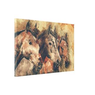 Art de toile de trois chevaux