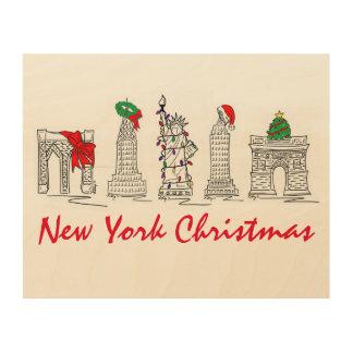 Art de vacances de points de repère de Noël NYC de
