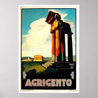 Art de voyage d'Agrigente Sicile Italie