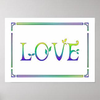 Art déco jaune, vert, bleu Amour-Coloré
