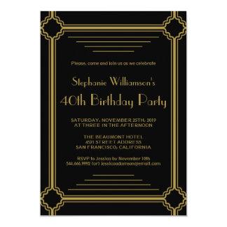 Art déco toute fête d'anniversaire d'âge carton d'invitation  12,7 cm x 17,78 cm