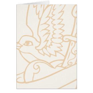 Art d'illustration de tatouage d'oiseau de chanson carte