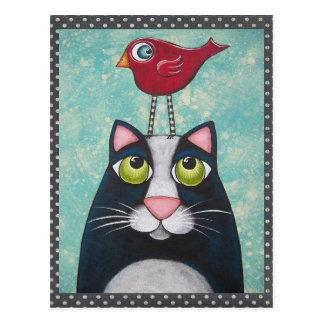 Art d'oiseau et de chat carte postale