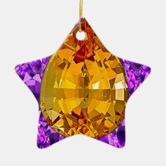 Art d'or de gemmes d'améthyste de topaze ornement étoile en céramique
