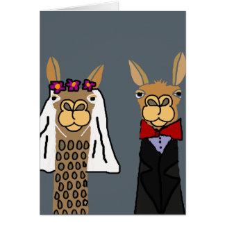 Art drôle de mariage de jeunes mariés de lama carte