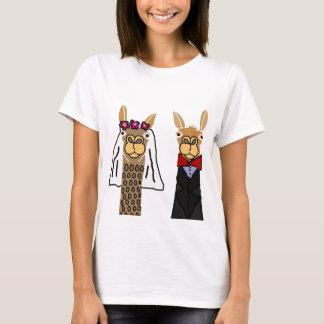 Art drôle de mariage de jeunes mariés de lama t-shirt