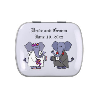 Art drôle de mariage de jeunes mariés d'éléphant boites jelly belly