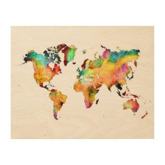 art en bois de carte du monde