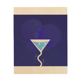 Art en bois de mur avec le cocktail de Martini