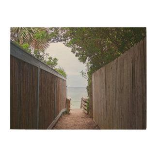 Art en bois de mur de chemin de bord de la mer