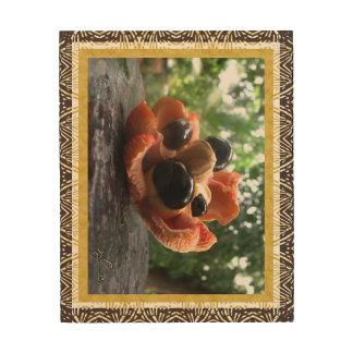 Art en bois de mur de famille de fruit d'Ackee -