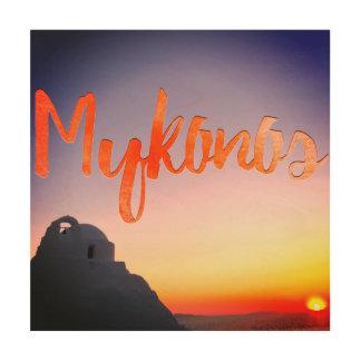 art en bois de mur de la Grèce de mykonos