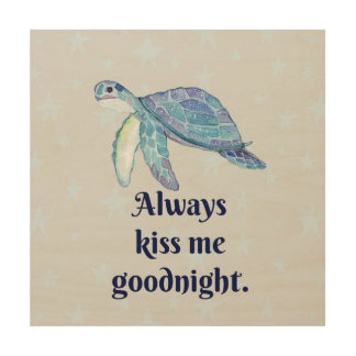 Art en bois de mur de tortue de mer bonne nuit