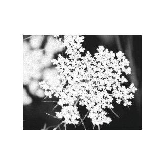 Art floral noir et blanc de mur - dentelle de la toiles