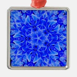 Art floral pourpre bleu de conception de ornement carré argenté