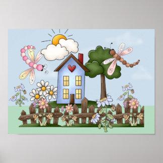 Art folklorique mignon de maison de campagne et de