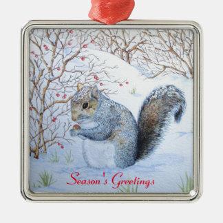 art gris mignon de faune de scène de neige ornement carré argenté