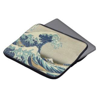 Art japonais vintage, la grande vague par Hokusai Trousses Pour Ordinateur Portable