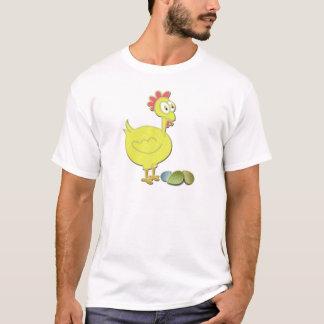 Art jaune de poulet et d'oeufs de bande dessinée t-shirt