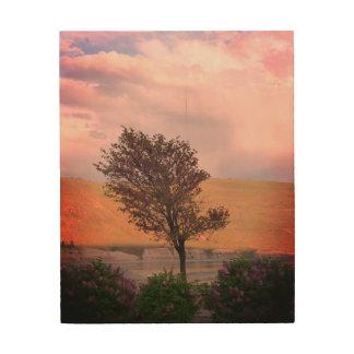 Art lilas en bois d'arbre