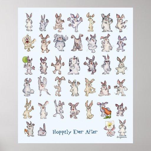 Art mignon de mur de crèche de décor de 39 lapins  posters