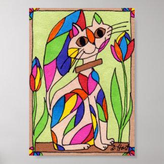 Art moderne de chat d'art déco d'arc-en-ciel mini