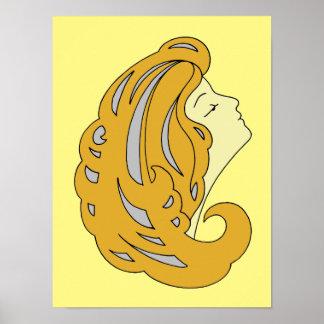 Art moderne Nouveau, femme avec les longs cheveux