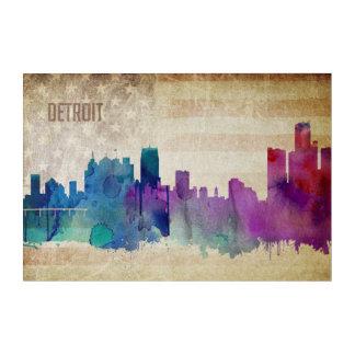Art Mural En Acrylique Detroit, horizon de ville d'aquarelle de MI |