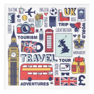 Art Mural En Acrylique Griffonnages de voyage de l'Angleterre
