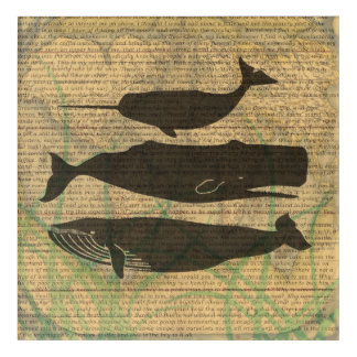 Art Mural En Acrylique Illustration vintage de baleine antique rustique