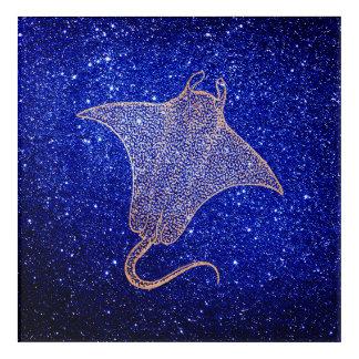 Art Mural En Acrylique Or bleu de rose de rose de marine de vie marine