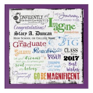 Art Mural En Acrylique Souvenir d'art de mot d'obtention du diplôme